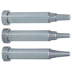 Precision Two-Step Core Pins -Shaft Diameter (P) Designation (0.005mm Increments)/Shaft Diameter Tolerance 0_-0.005/Tip A・V・E Tolerance ±0.005 Type-